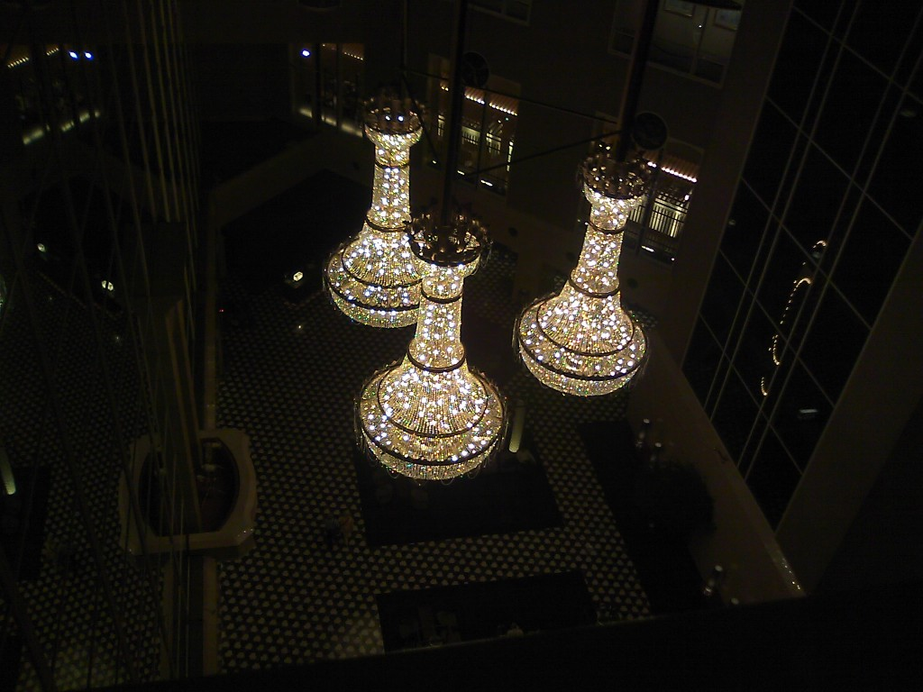 How often do you look down on a giant chandelier?