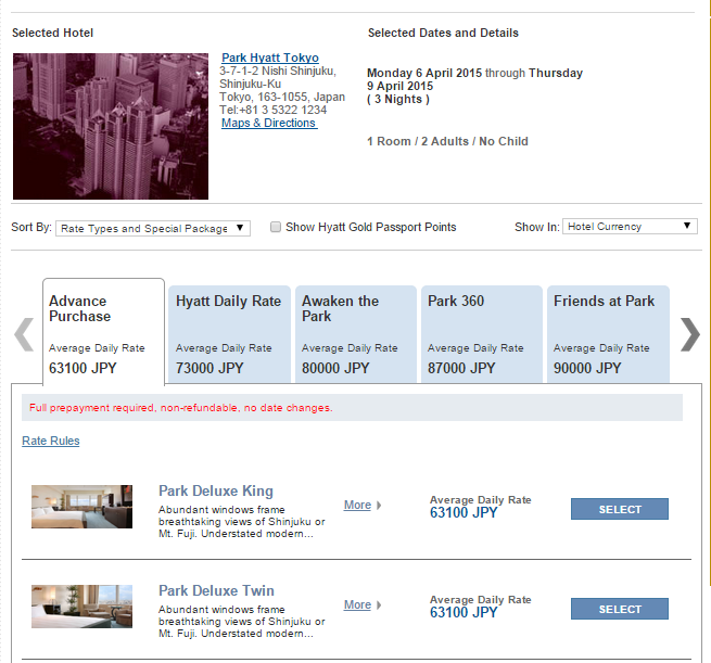 Park Hyatt Tokyo can be stingy about making base rooms available on their website.