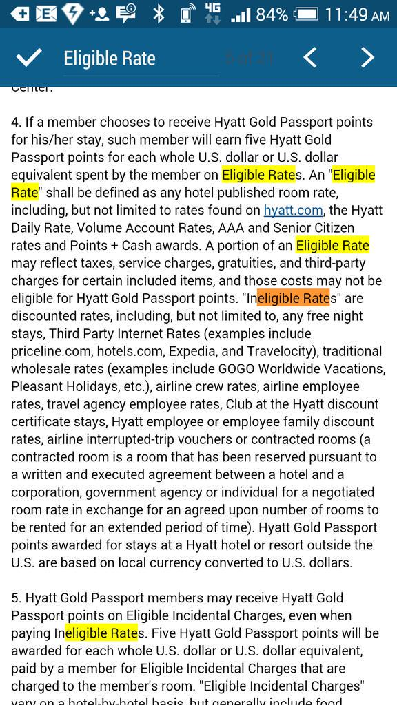 "Had to dig into another section to find where ""Eligible Rate"" was defined. Way to be user friendly, Hyatt!"